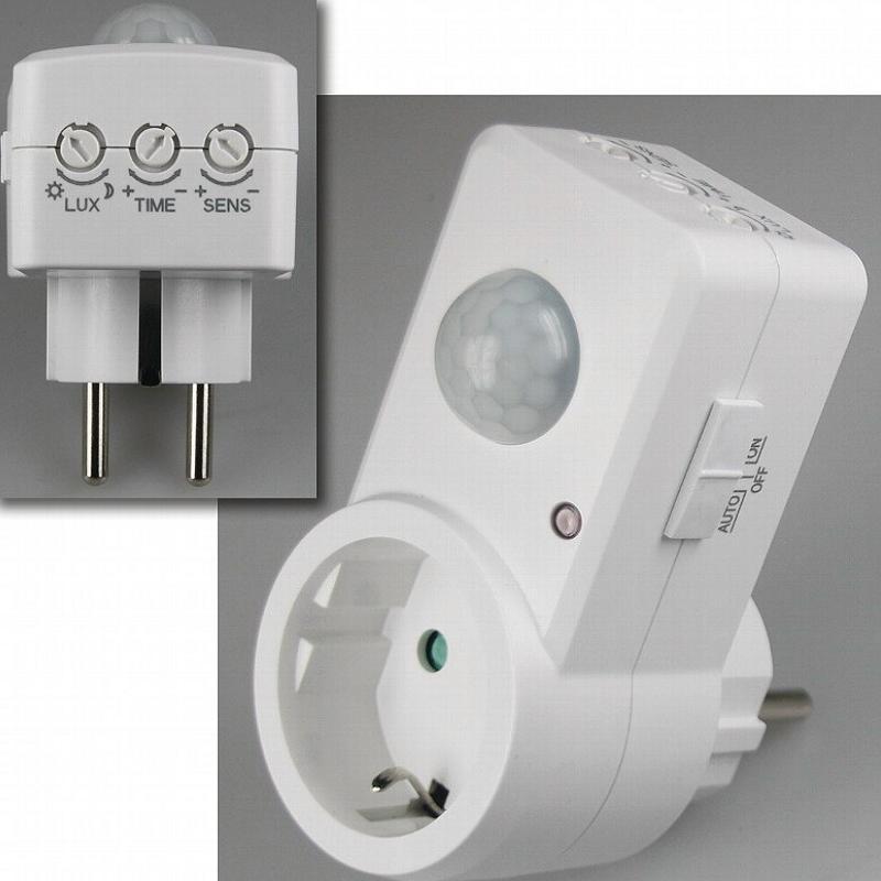 zwischenstecker integrierter bewegungsmelder pir sensor steckdose ebay. Black Bedroom Furniture Sets. Home Design Ideas